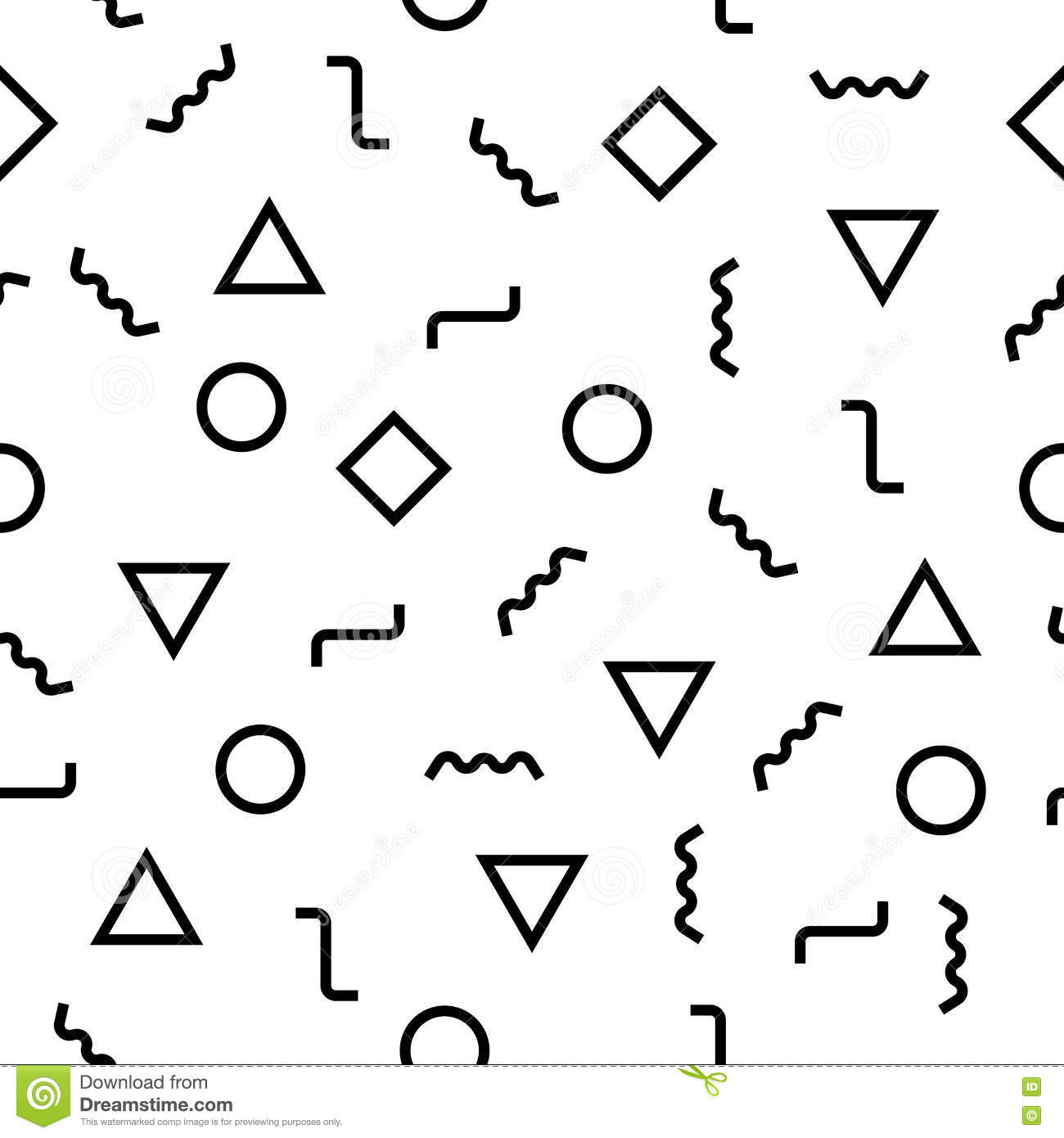 Vector Modern Abstract Geometry Memphis Pattern  Black And