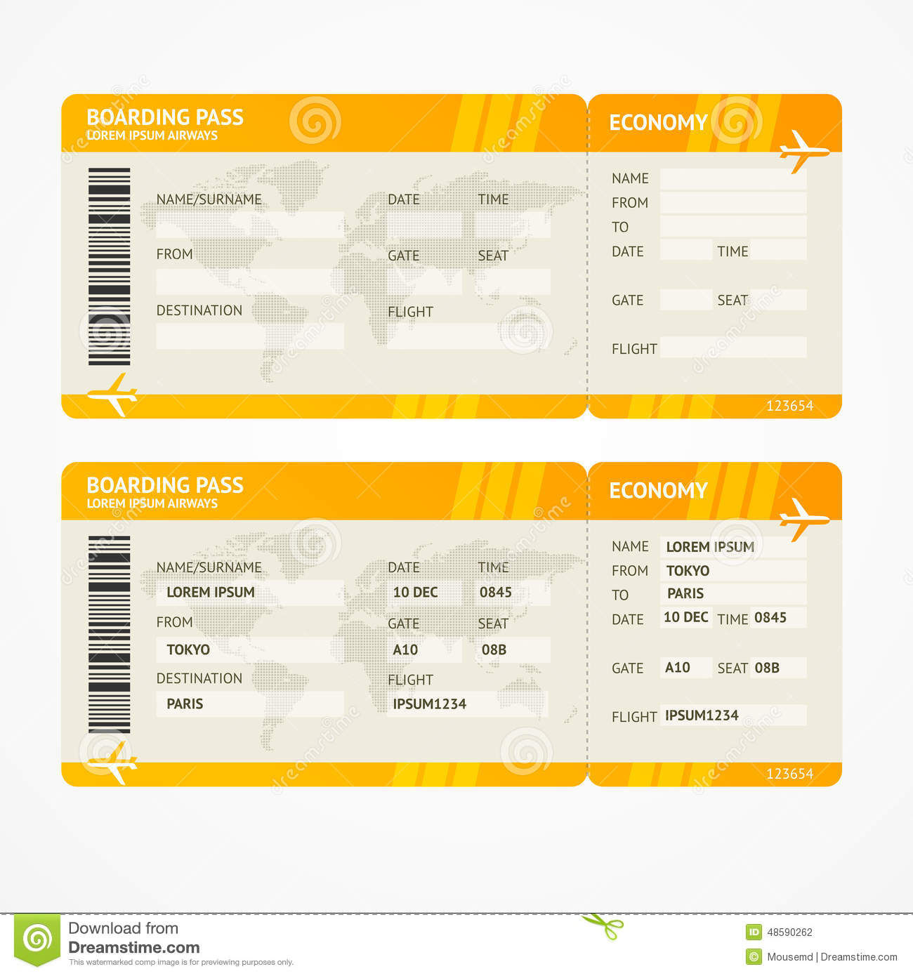 Vector Modern Airline Boarding Pass Tickets Stock Vector ...
