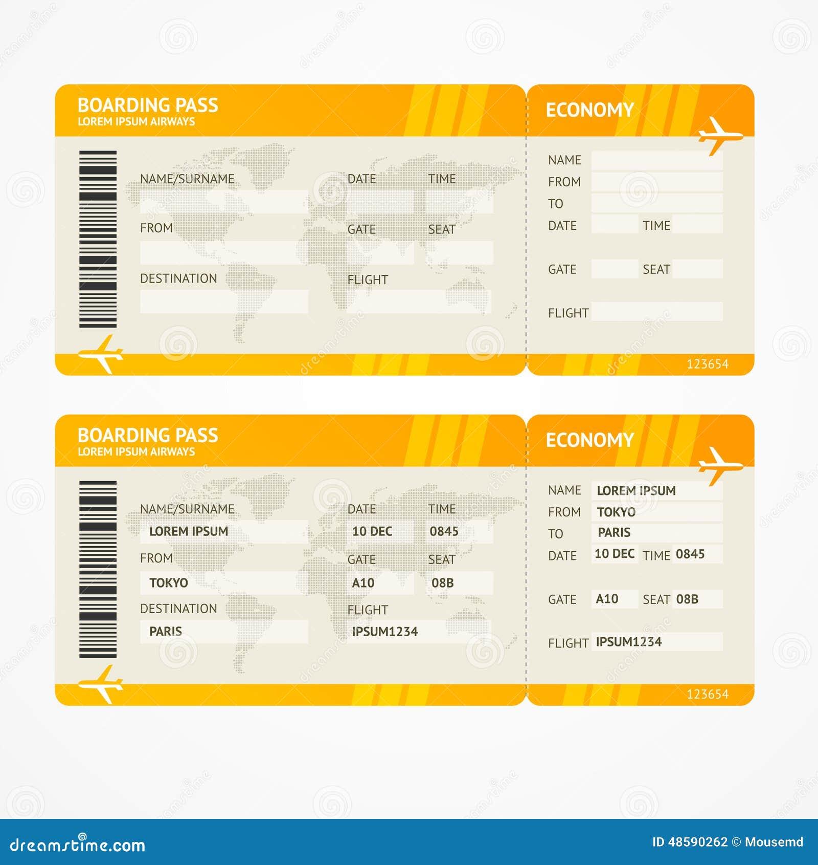 Vector Modern Airline Boarding Pass Tickets Stock Vector