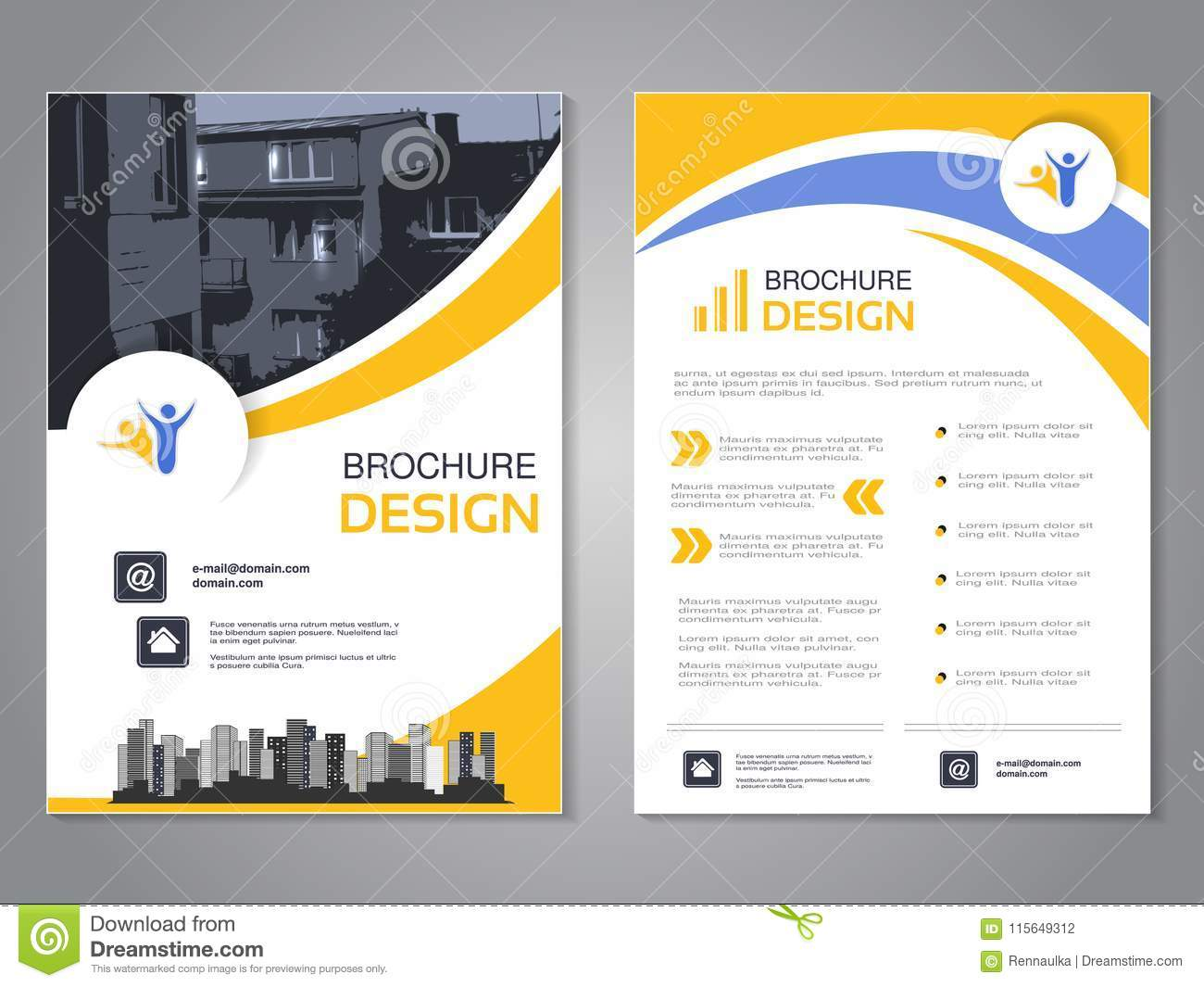 download vector modern brochure design abstract flyer with background of houses layout template with