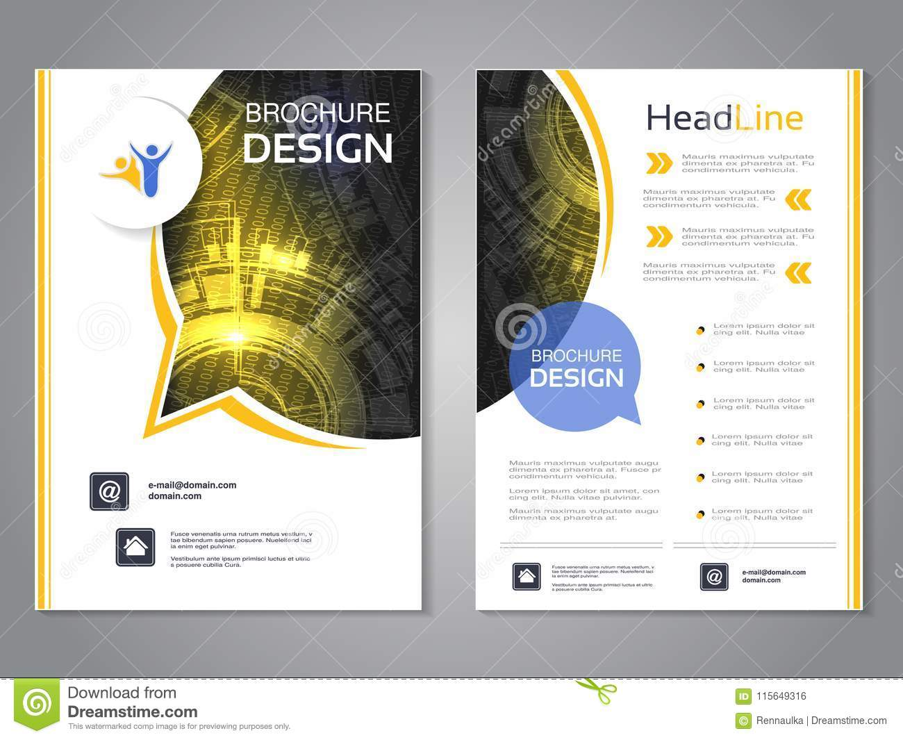 Vector modern brochure rounded design with bubble, abstract flyer with technology background. Layout template. Poster of black, ye