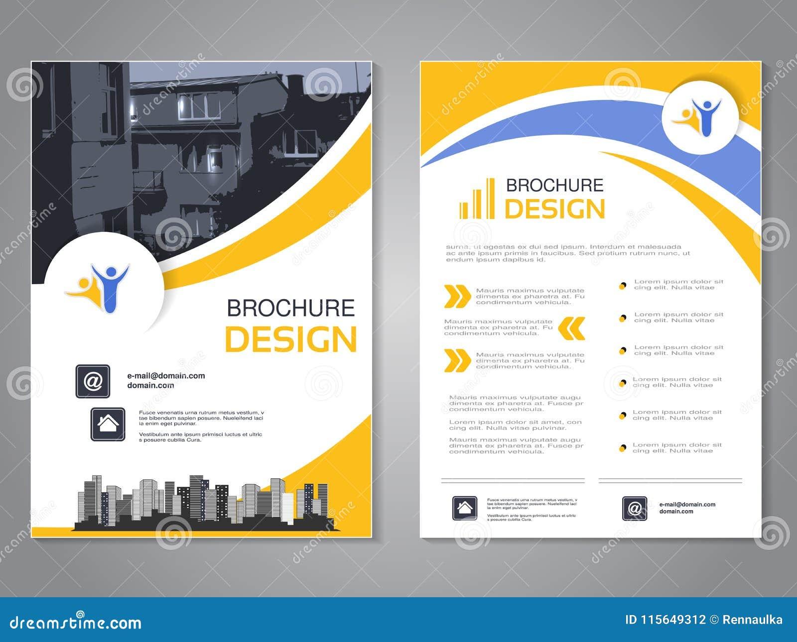 Vector modern brochureontwerp, abstracte vlieger met achtergrond van huizen Lay-outmalplaatje met stad Blauw, geel en wit
