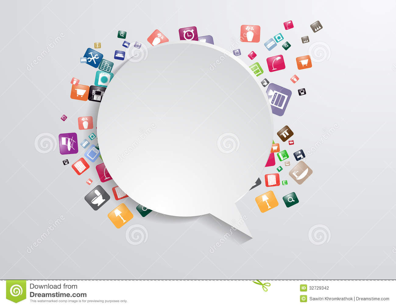 Vector Modern Business Bubble Speech Template With Stock