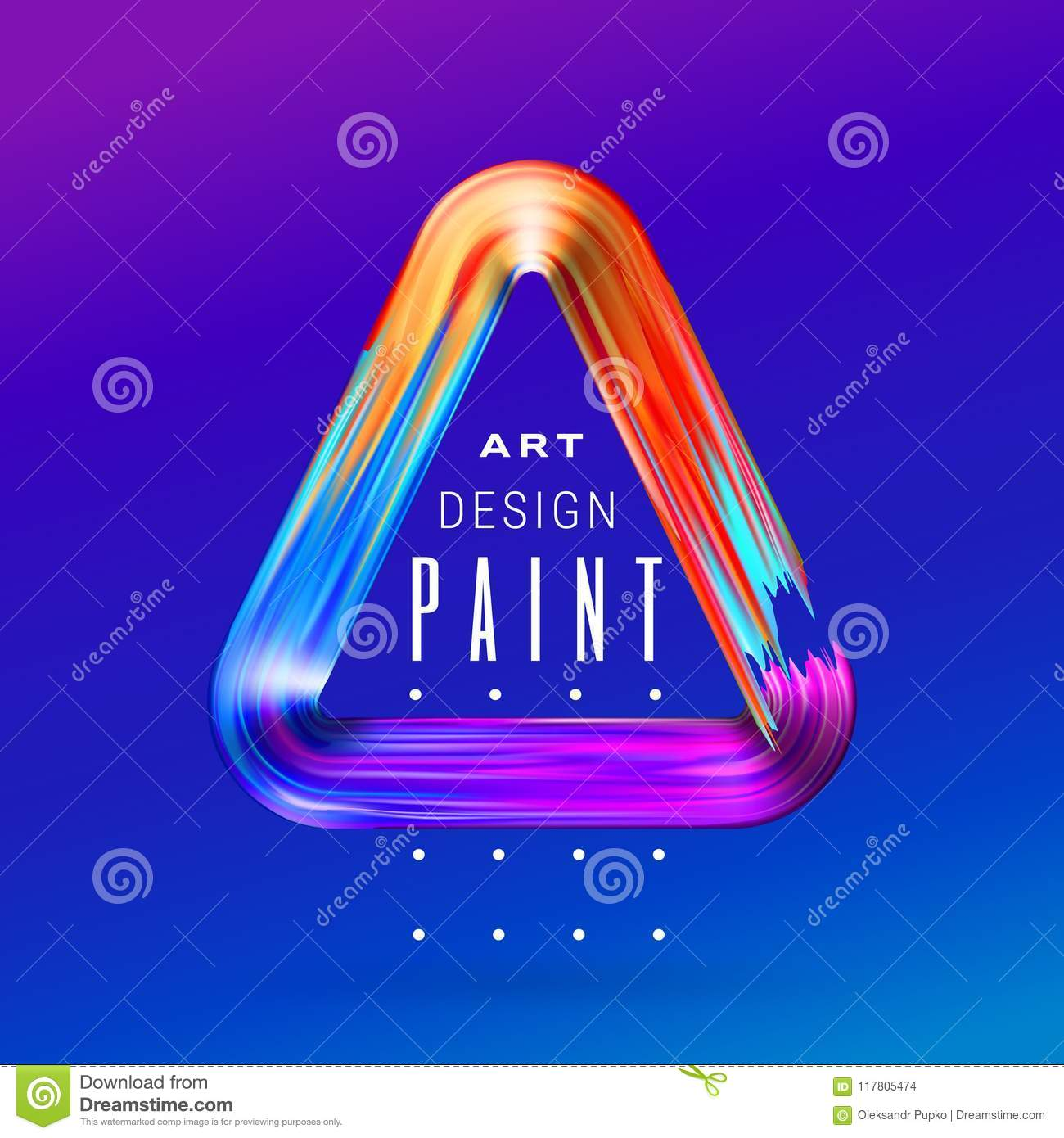 Vector modern colorful flow frame. Fluid acrylic paint or color brushstroke oil design element in the form of triangle