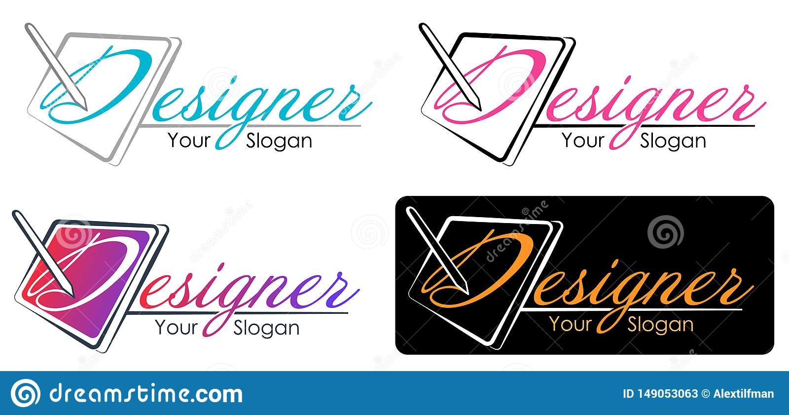 Vector Modern Design Style Logo Template For Graphic Designer Or