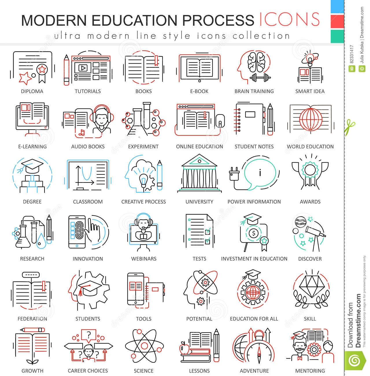 Modern colors web design - Vector Modern Education E Learning Process Color Line Outline Icons For Apps And Web Design