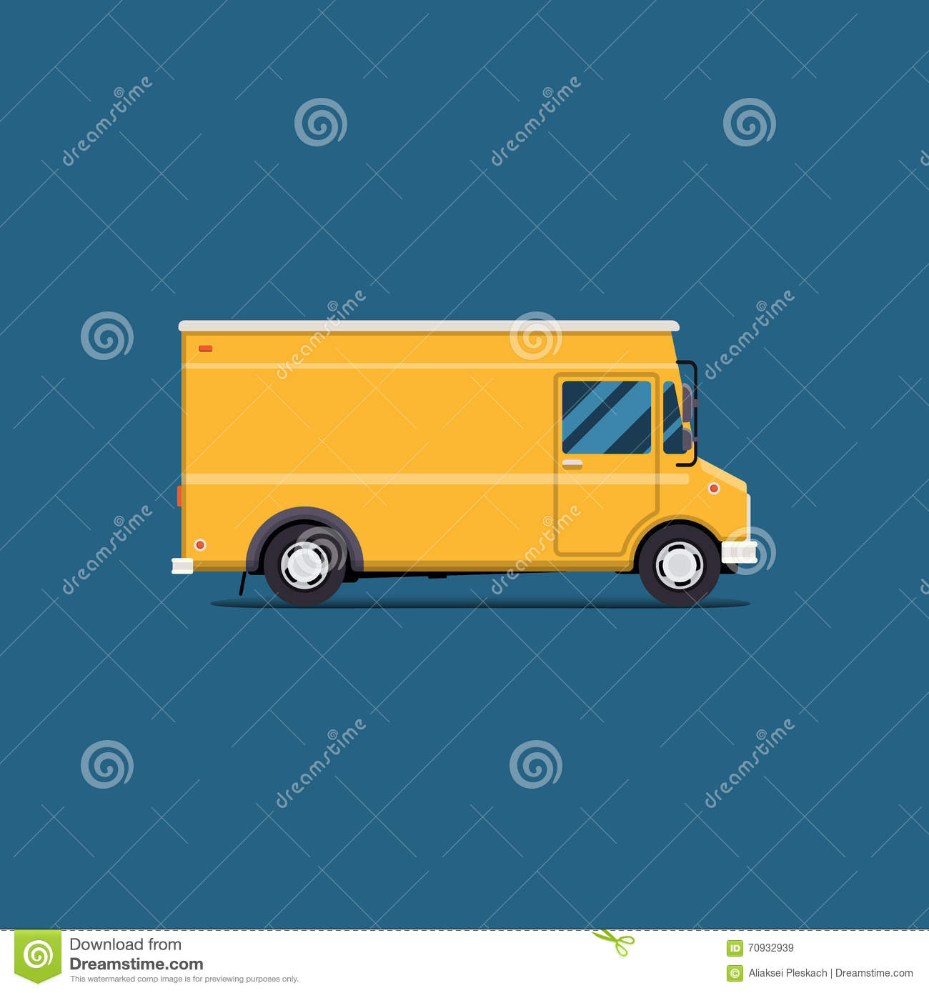 Vector modern flat illustration delivery van. Commercial Vehicle isolate. service icon