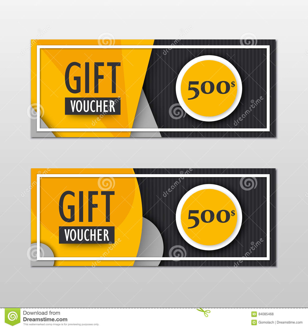 vector modern gift voucher template set in material design style gift coupon card invitation. Black Bedroom Furniture Sets. Home Design Ideas