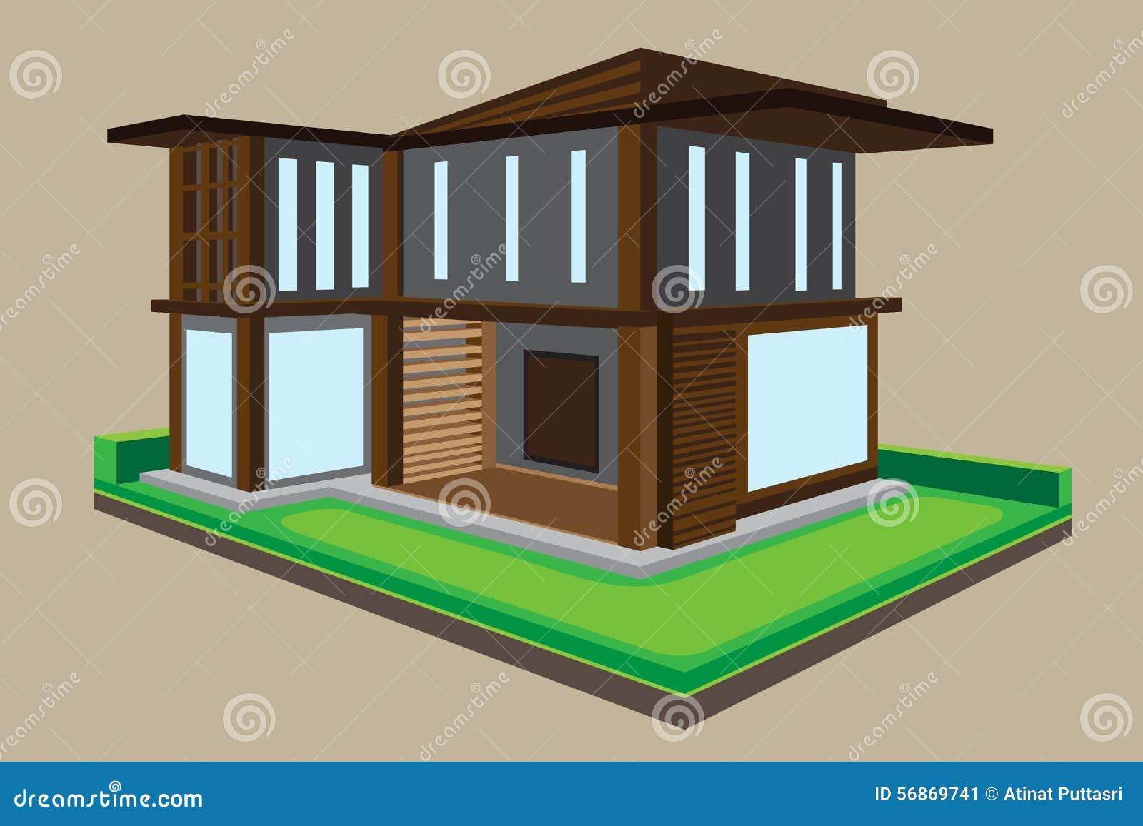 House design cartoon - Royalty Free Vector Download Vector Modern House Design