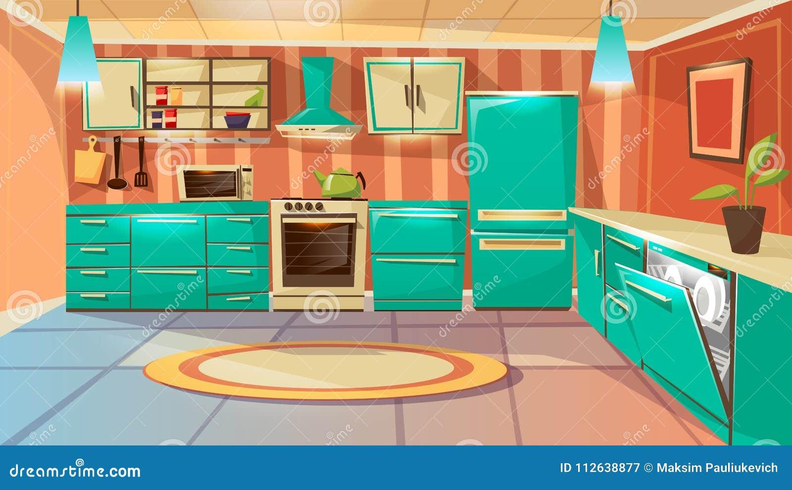 Vector Cartoon Modern Kitchen Interior Background Stock Vector ...