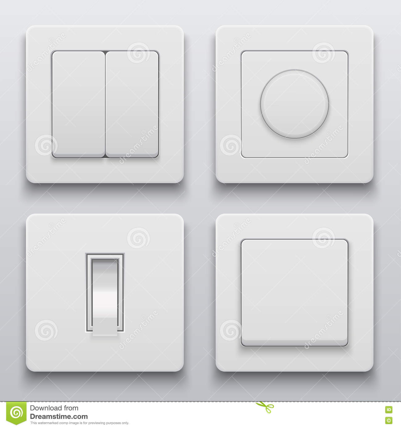 Vector Modern Light Switch Icons Set Stock Vector - Illustration of ...