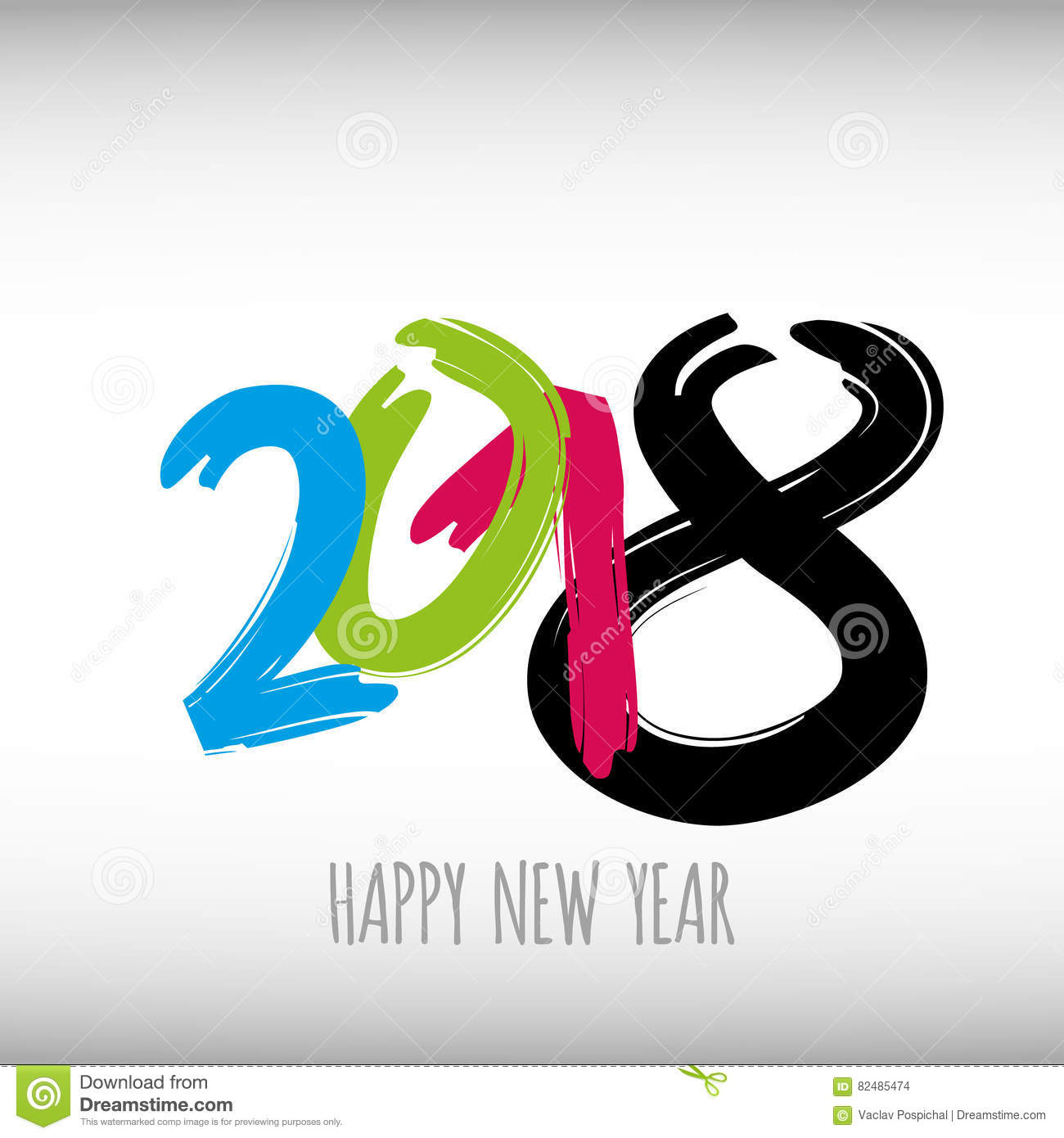 Vector modern minimalistic Happy new year card for 2018 with main big numbers - light version