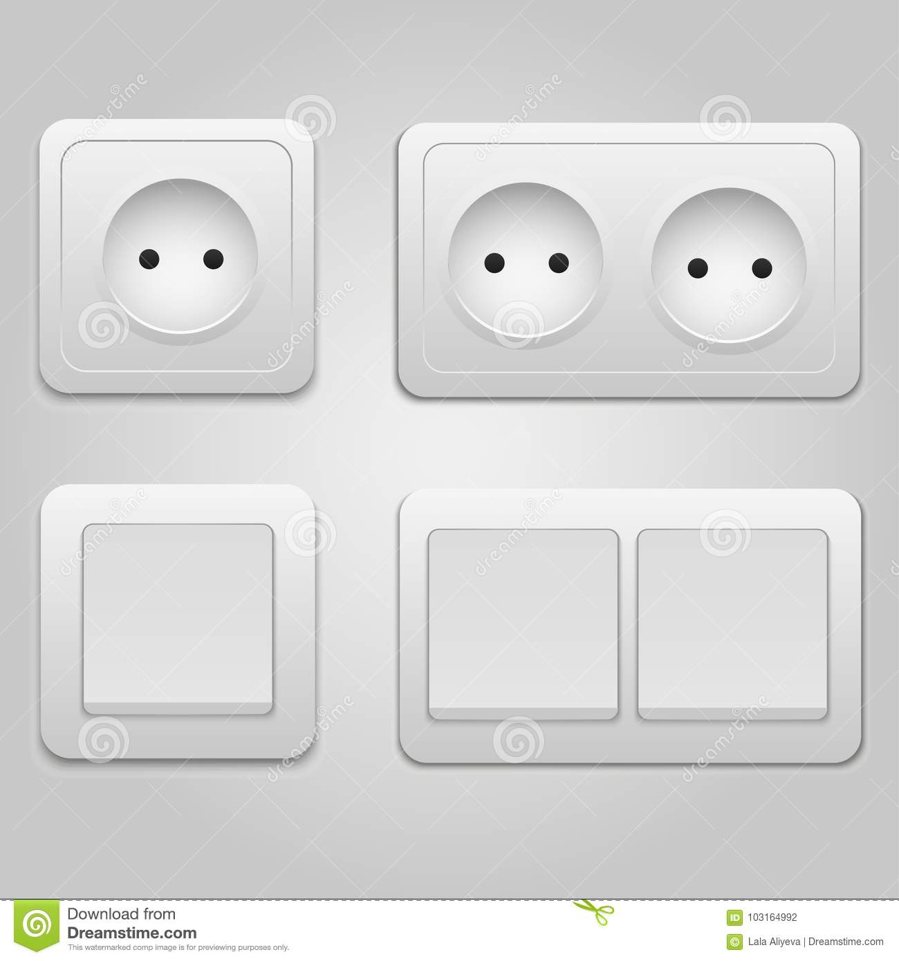 Vector Modern Power Socket And Light Switch Icon On Background ...
