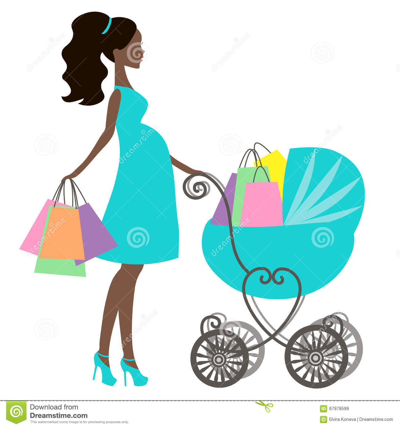 stock illustration vector of modern pregnant mommy with vintage baby
