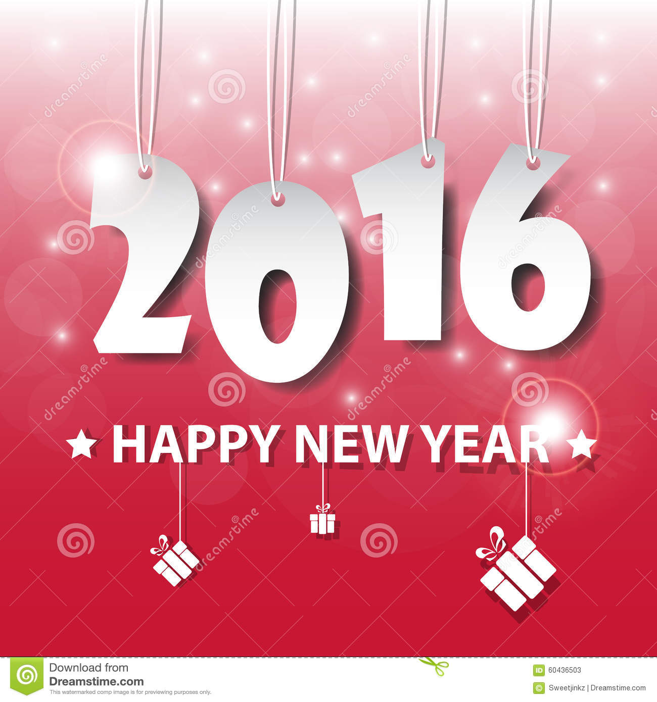 vector modern red simple happy new year 2016 card with a long sh