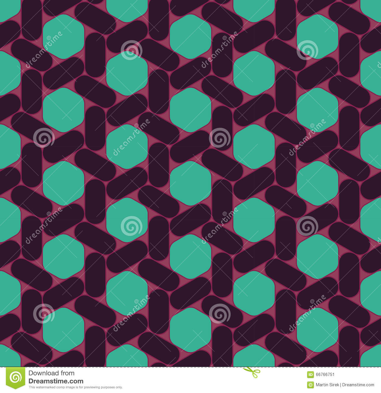 Abstract Geometric Graphic Seamless Purple Hexagon Pattern