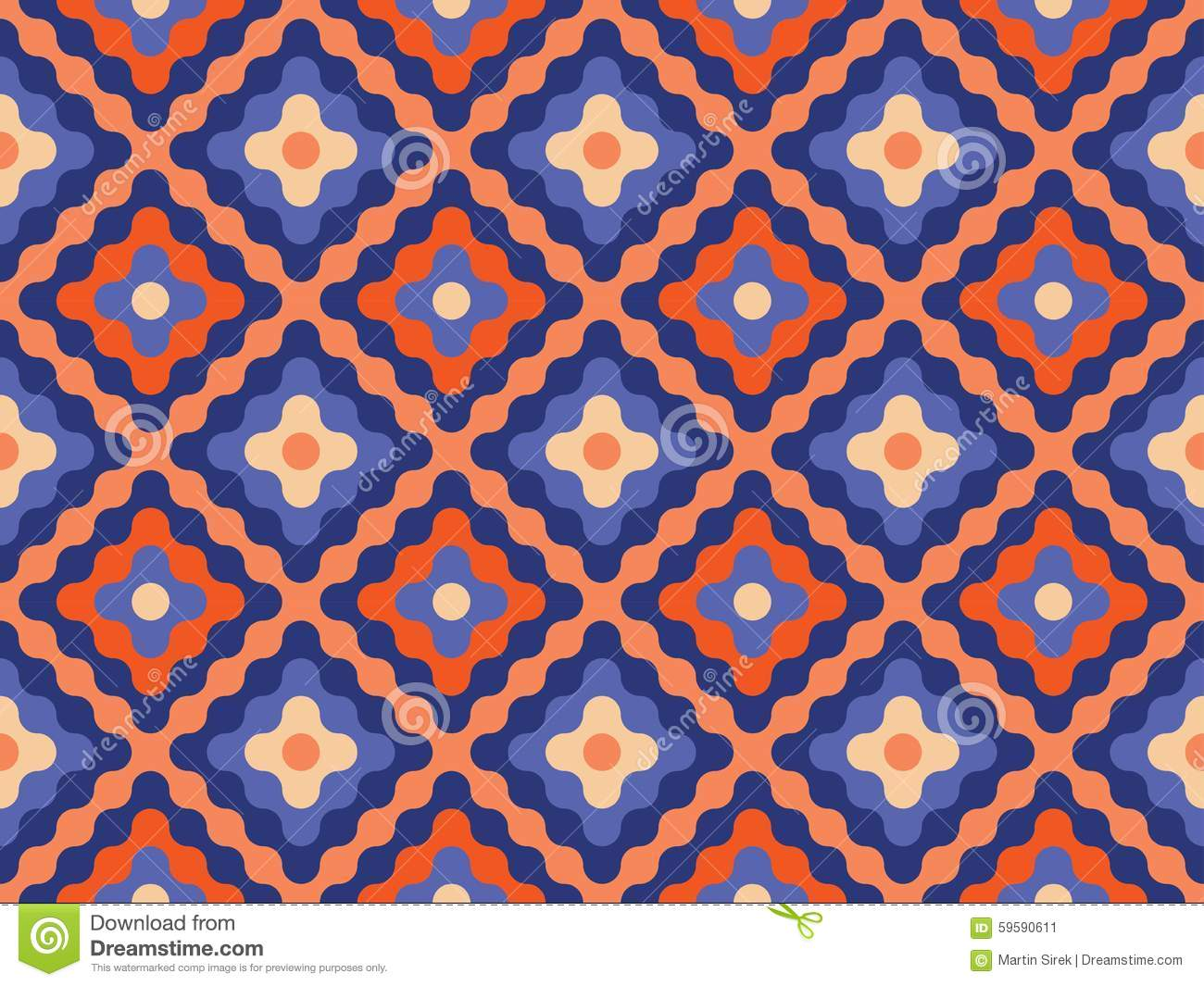 Vector Modern Seamless Colorful Geometry Pattern Flowers