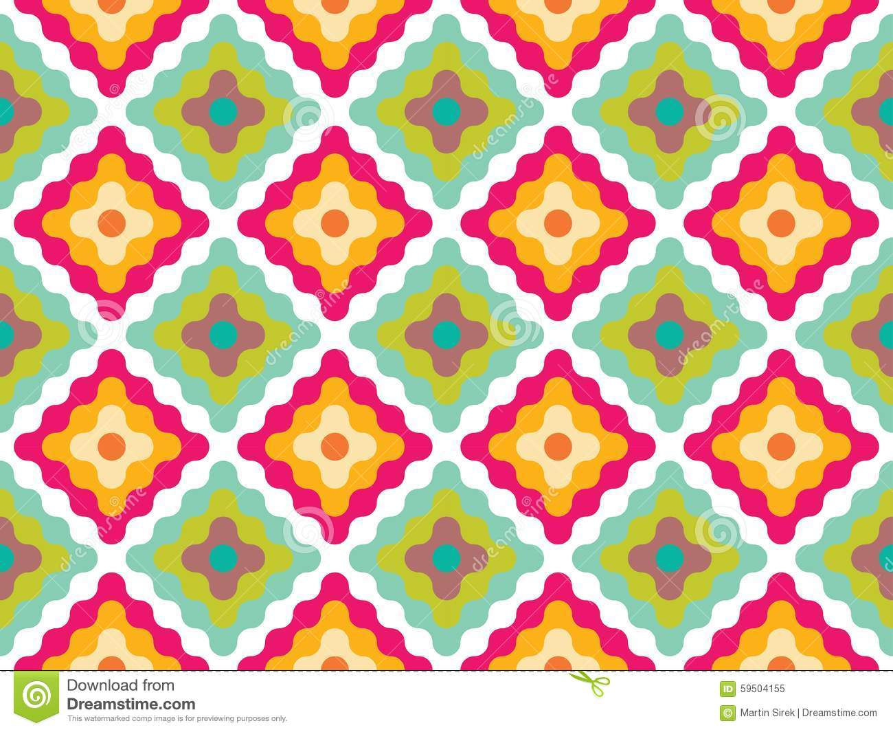 Modern Seamless Pattern With Colorful Diamonds Cartoon