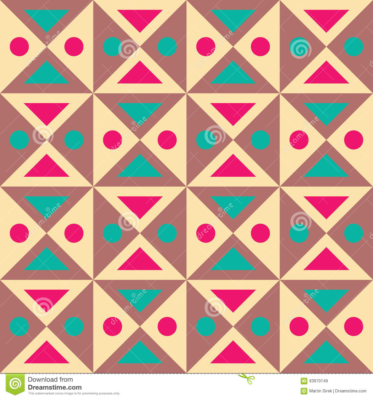 Vector Modern Seamless Colorful Geometry Triangles Dots