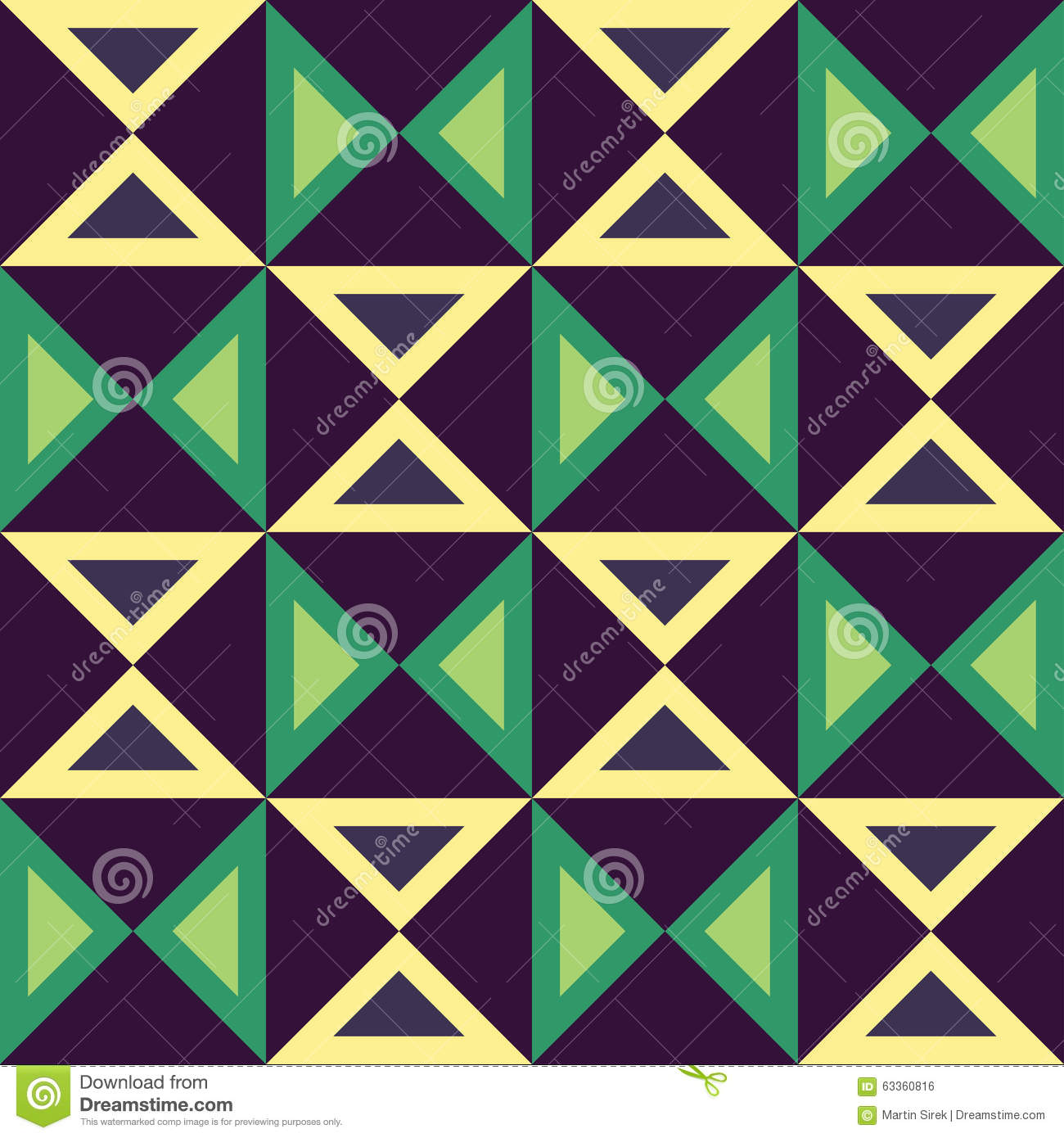 Vector Modern Seamless Colorful Geometry Triangles Pattern