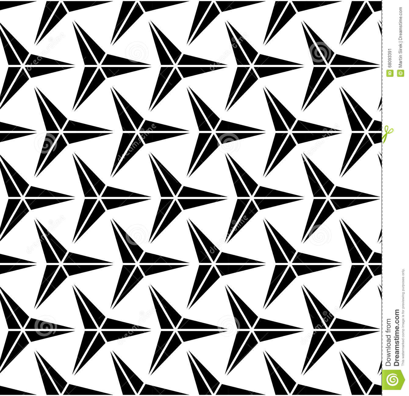 Vector modern seamless geometry pattern three point star for Modern patterns black and white