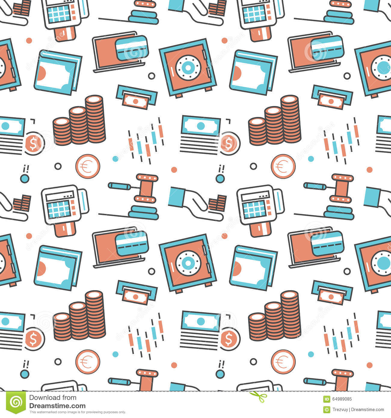 0510d95143 Vector modern seamless pattern texture background of flat e-commerce, shopping  icons. Thin line illustration design for wallpapers, print,, packaging, ...