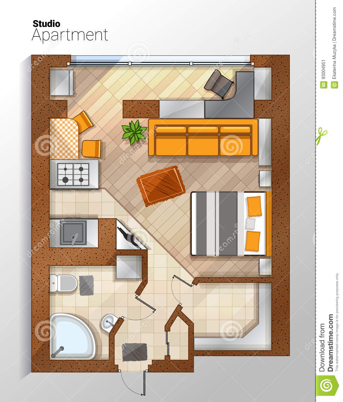 Vector Modern Studio Apartment Top View Illustration ... Dining Chair Clipart
