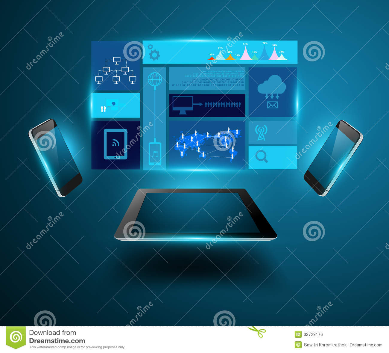 Vector Modern Technology Business Concept Mobile P Royalty Free Stock