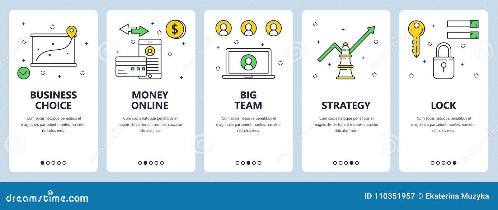 Vector modern thin line business concept web banner set