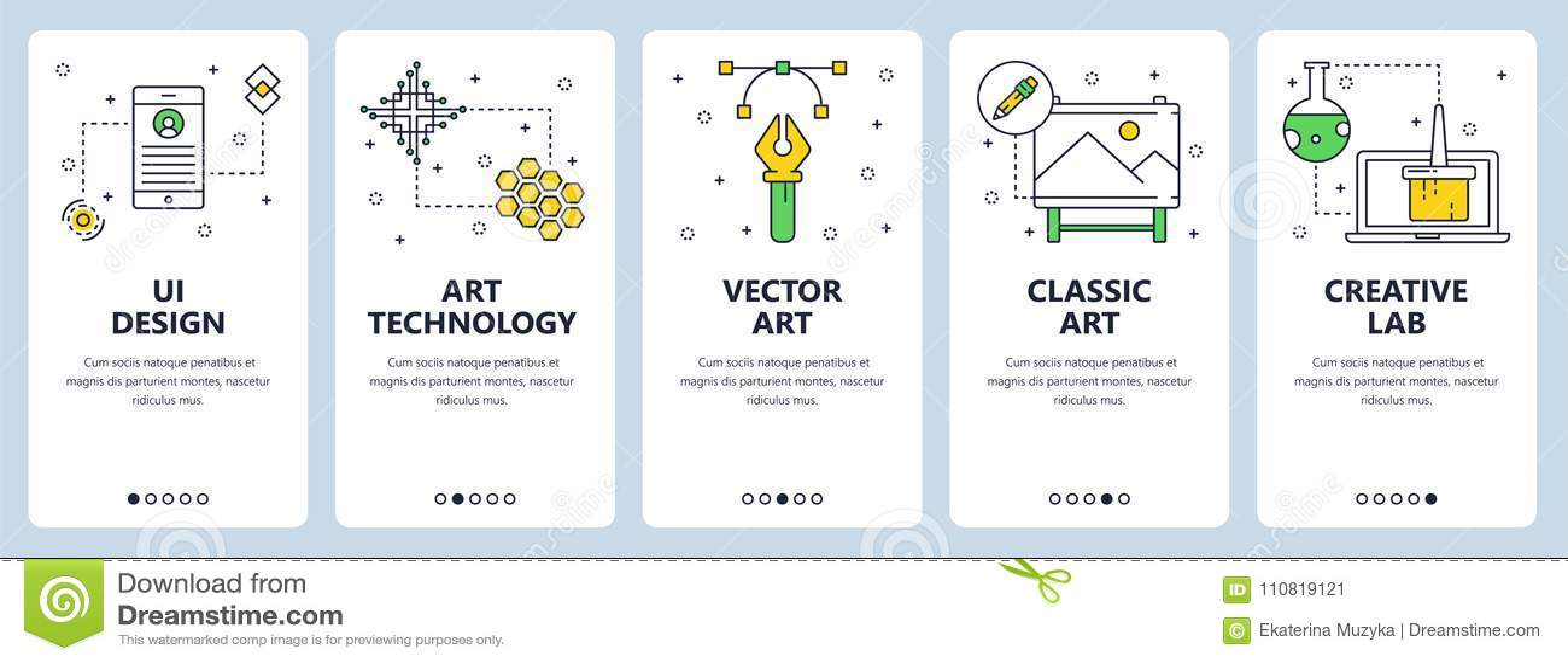 Vector modern thin line ui design vertical web banner set