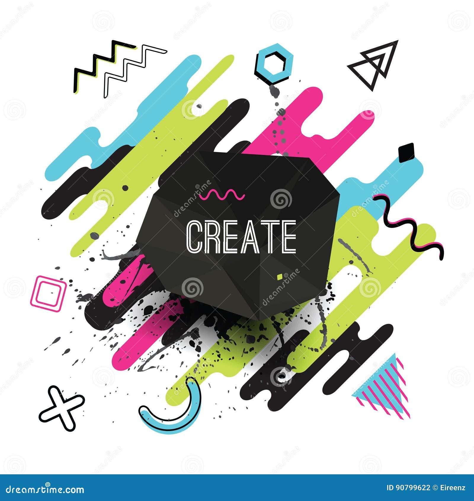 Vector moderne dynamische die samenstelling van diverse rond gemaakte vormen wordt gemaakt