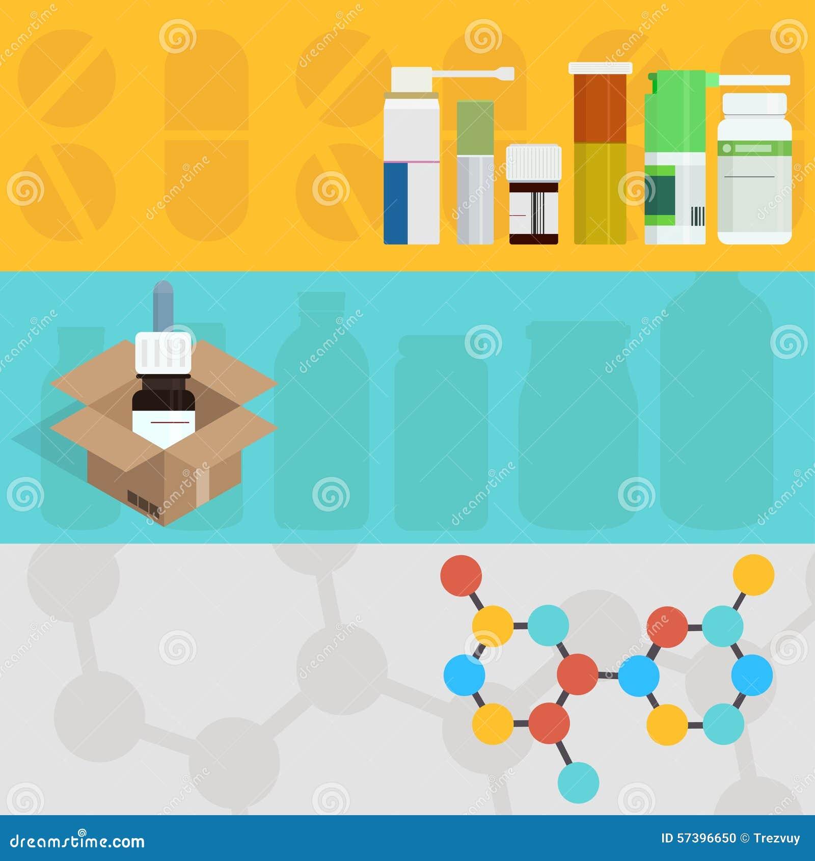 Vector moderne vlakke geplaatste geneeskundeachtergronden