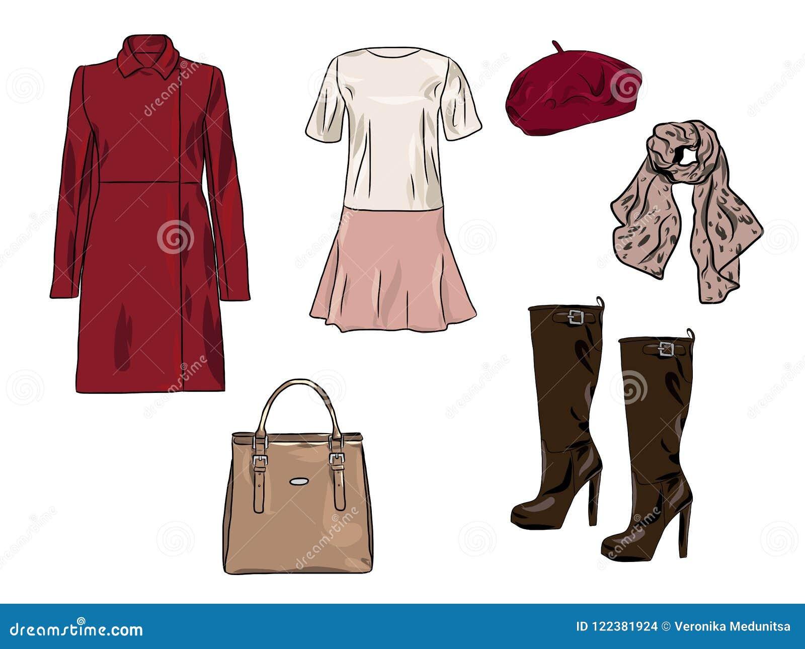 Vector modieuze manierreeks de vrouwen` s herfst, de lente of de winterkleren en toebehoren Toevallige kleurrijke uitrusting met