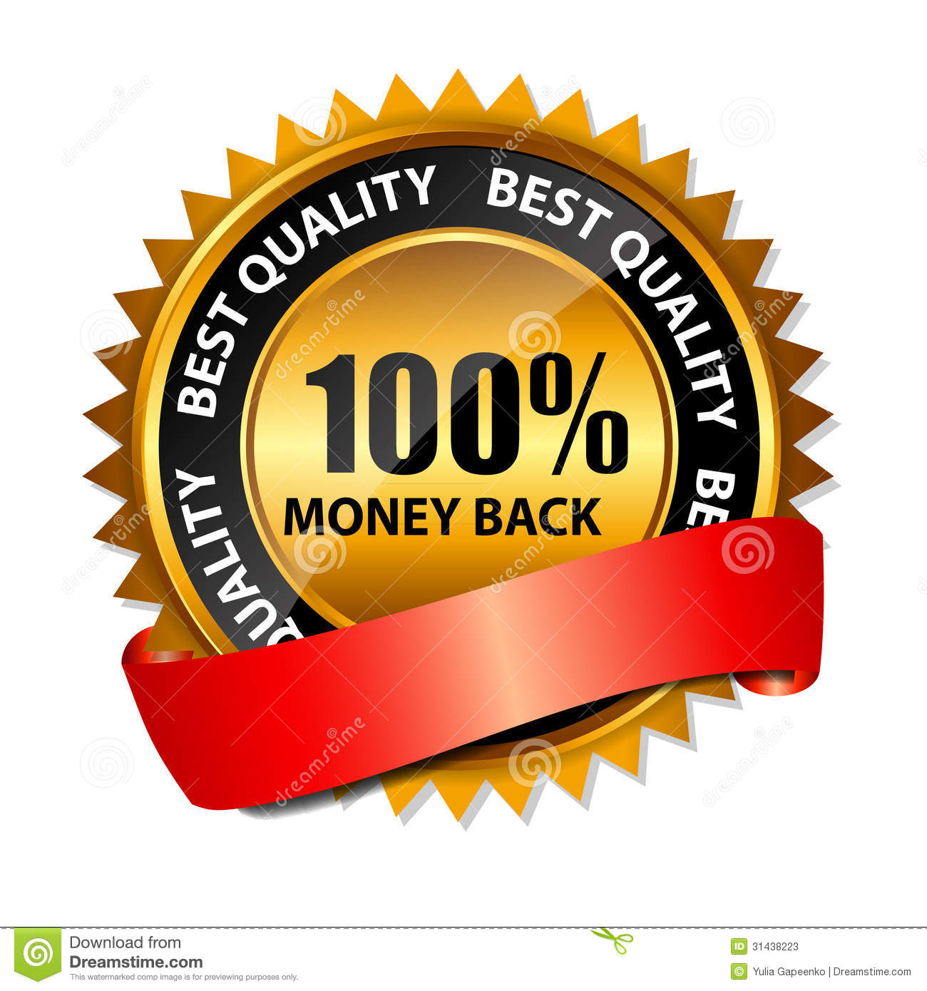 Vector 100 Money Back Gold Sign, Label Template Stock ...