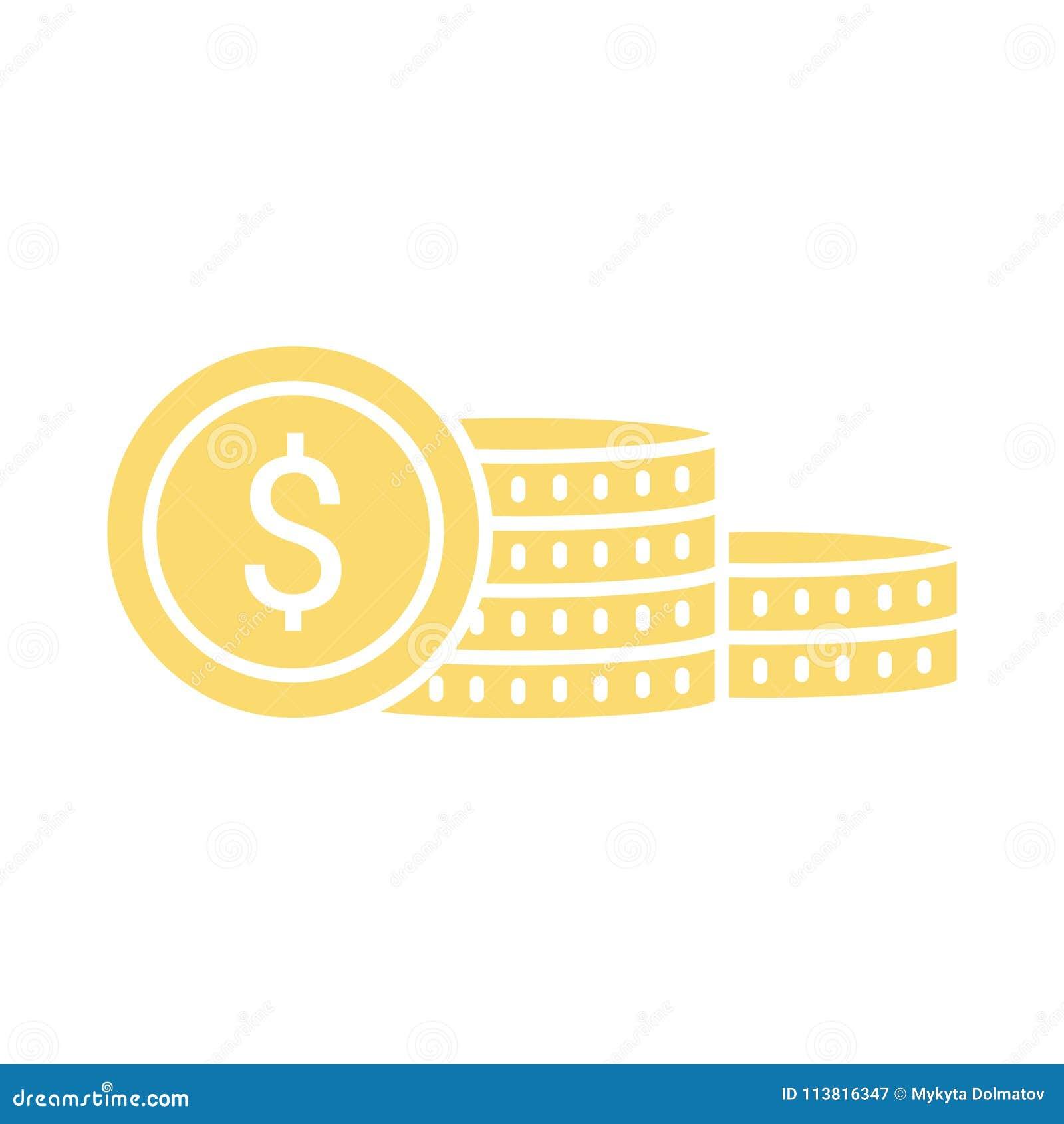 Vector Money Coins Icon Saving Money Concept Sign With Coin Sta