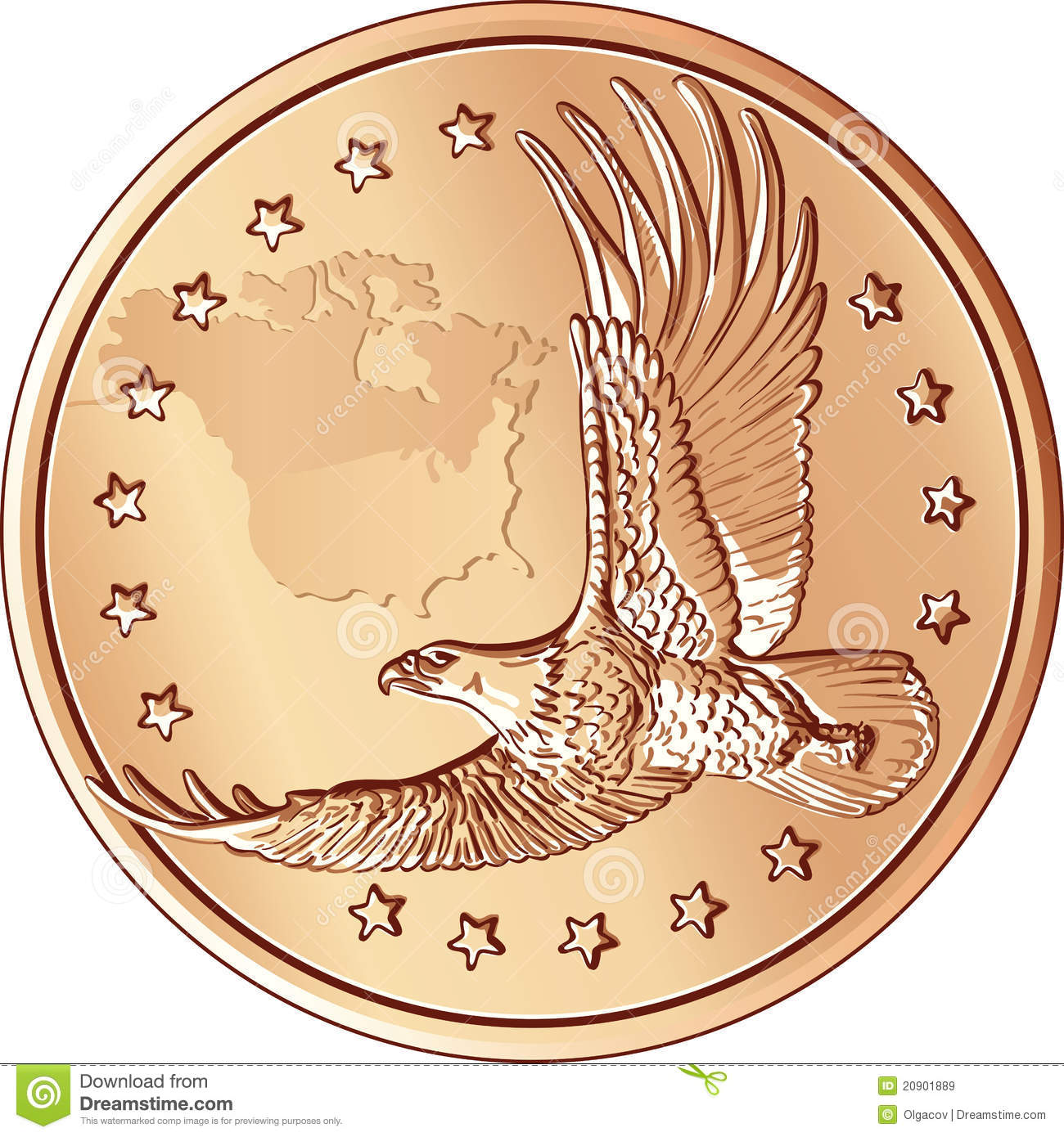 Vector Money Gold Coin With The Flying Eagle Stock Vector