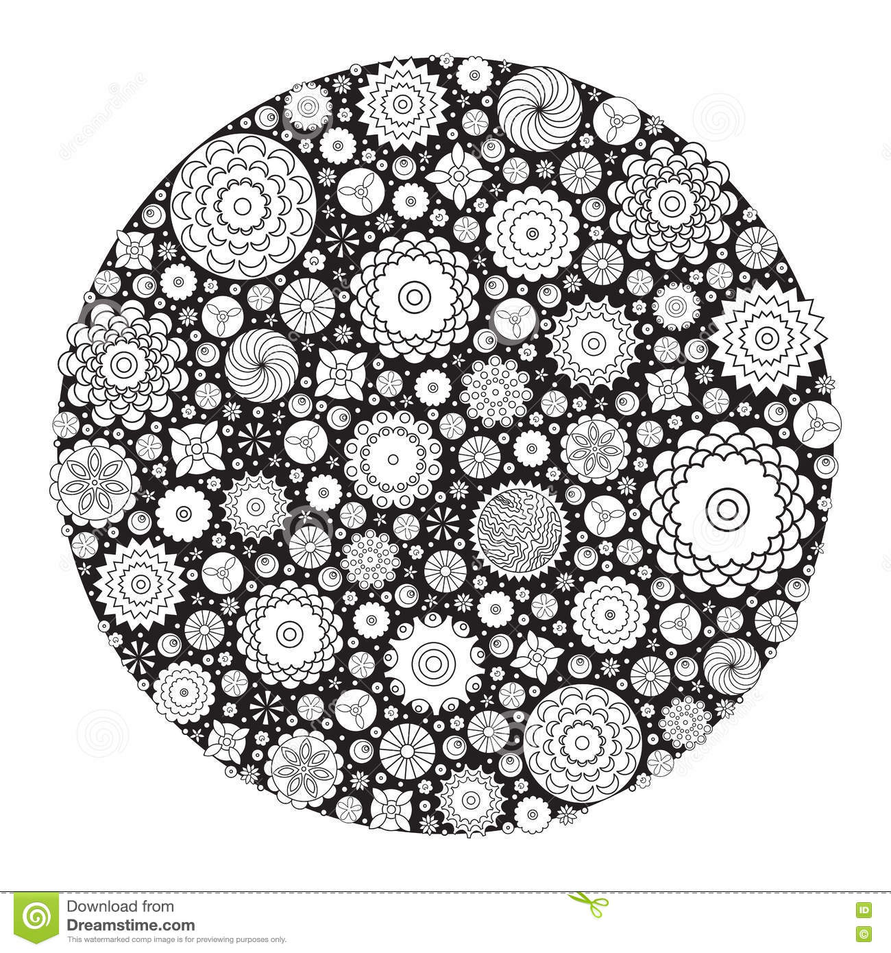 Download Vector Monochrome Floral Decorative Pattern For Coloring Book Grown Up And Adult Stock