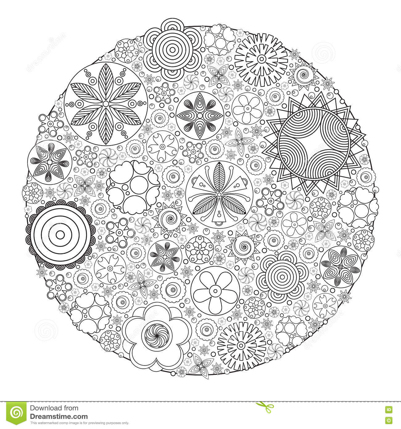 Coloring book grown up - Vector Monochrome Floral Decorative Pattern For Coloring Book For Grown Up And Adult