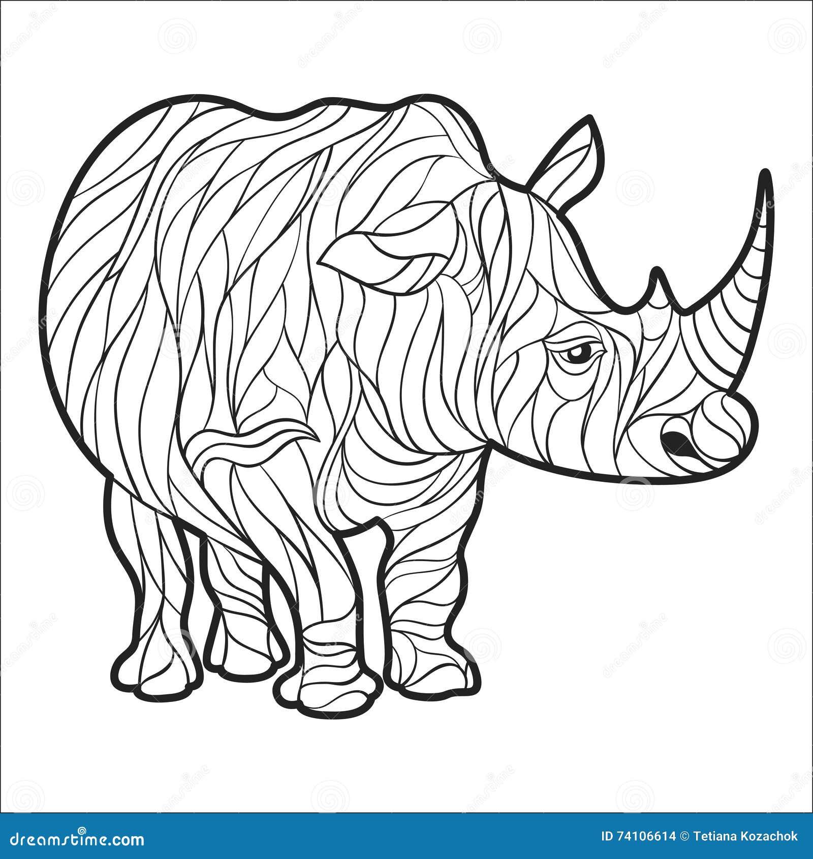 Adult Coloring Page Rhino Cartoon Vector | CartoonDealer ...