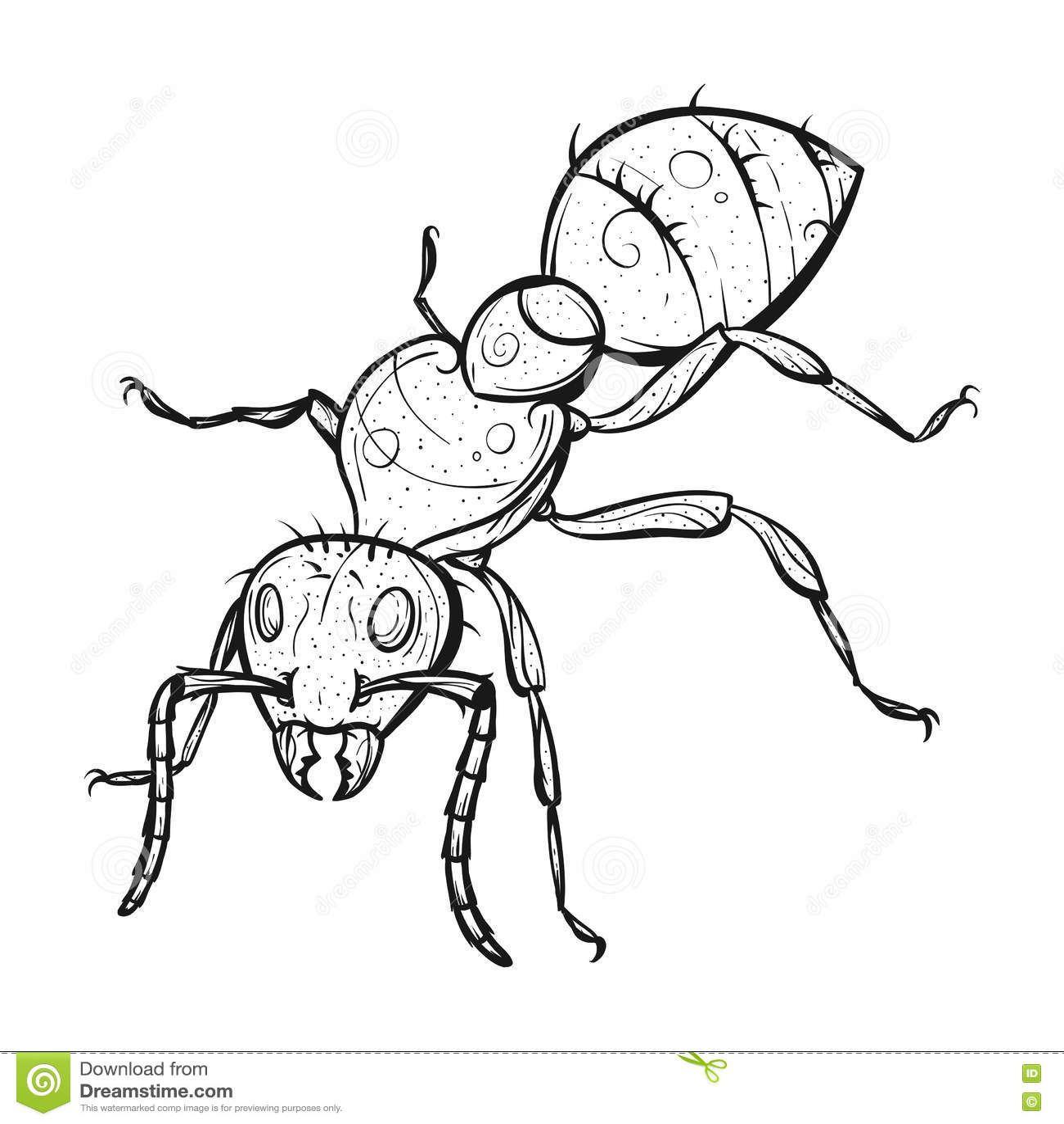 Vector Monochrome Hand Drawn Zentagle Illustration Of Ant. Stock ...