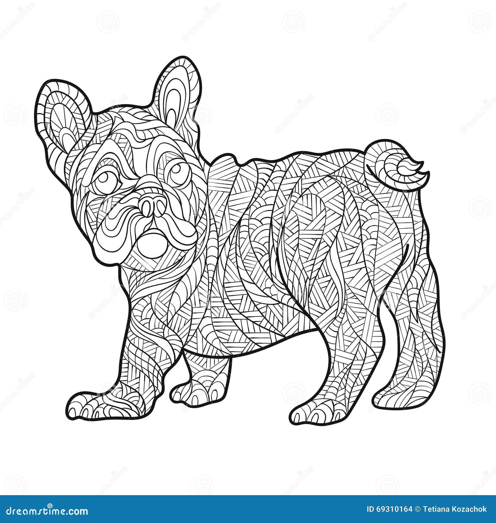 Vector Monochrome Hand Drawn Zentagle Illustration Of French Bulldog Stock Vector Illustration
