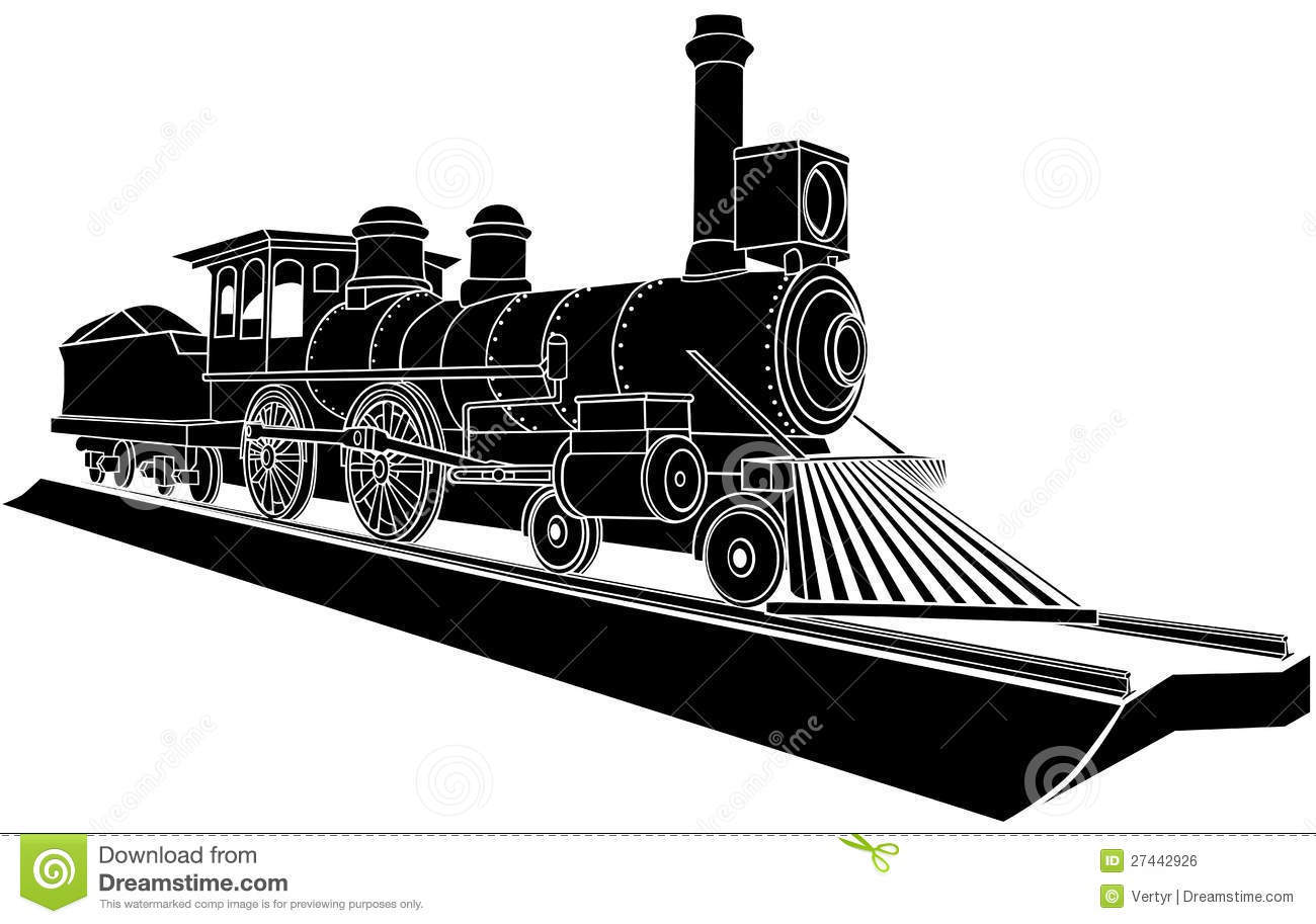 Vector Monochrome Illustration Of Old Steam Train. Royalty ...