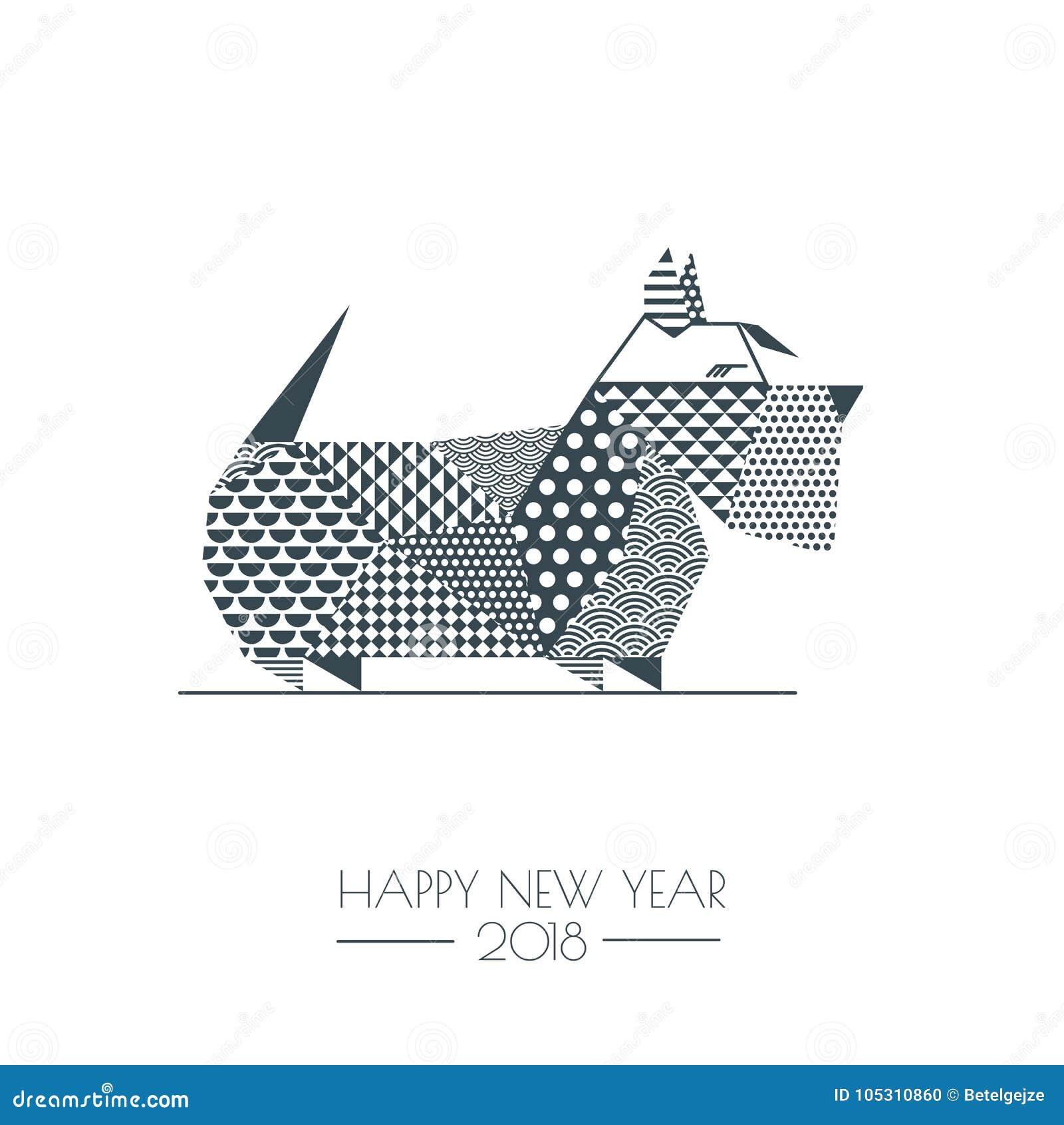 Vector monochrome illustration of scottish terrier dog with vector monochrome illustration of scottish terrier dog with patchwork geometric triangle texture new year greeting m4hsunfo