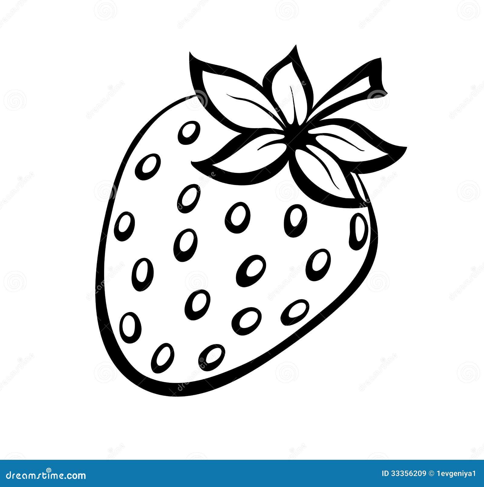 Vector Monochrome Illustration Of Strawberries Logo. Stock ...