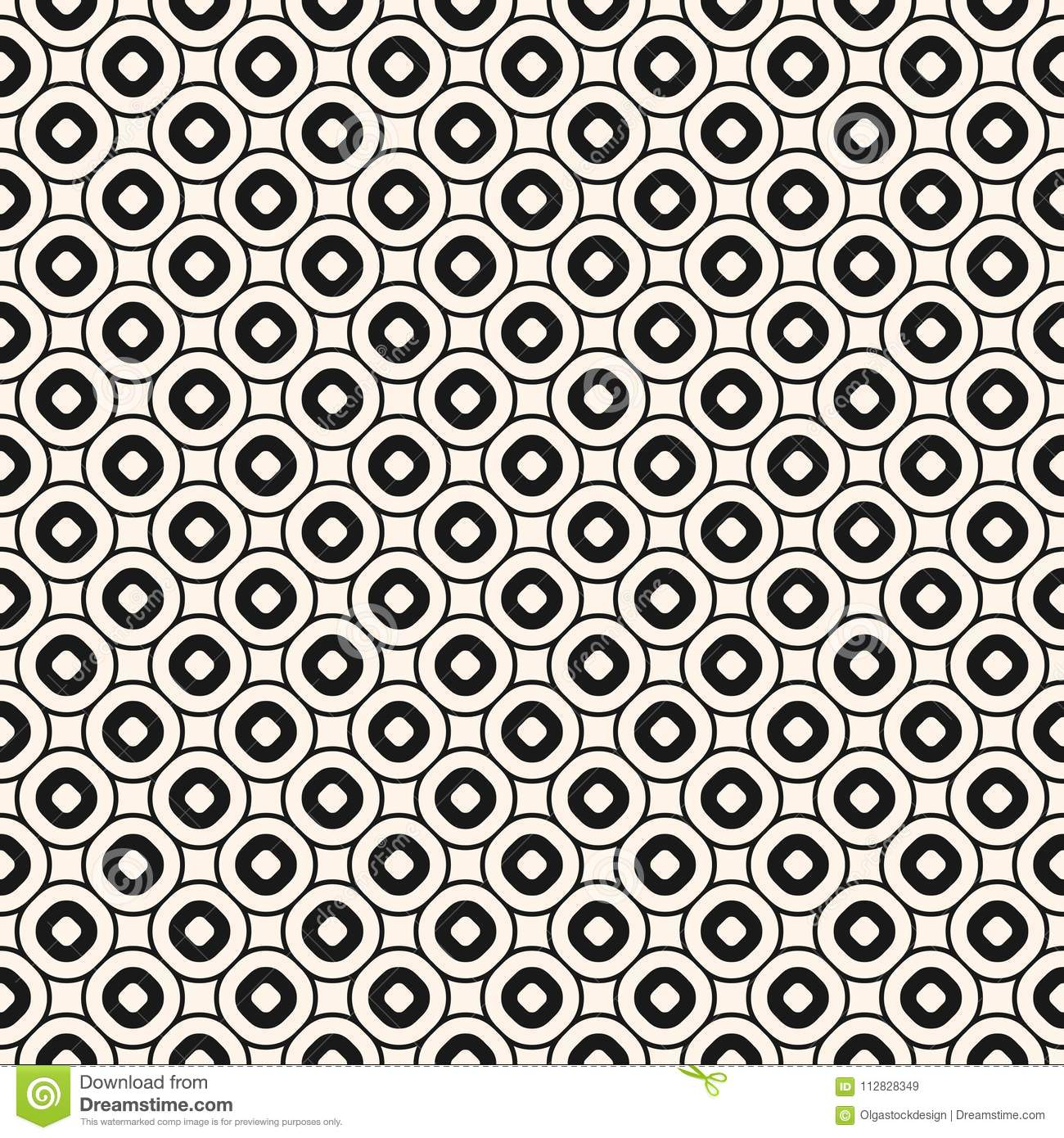 vector geometric seamless pattern with circles, rings. retro vintage