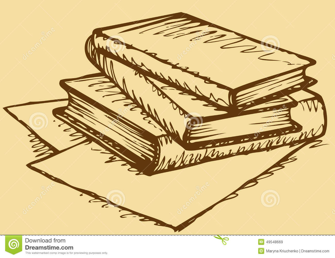 Vector Monochrome Sketch Stack Of Books Stock Vector