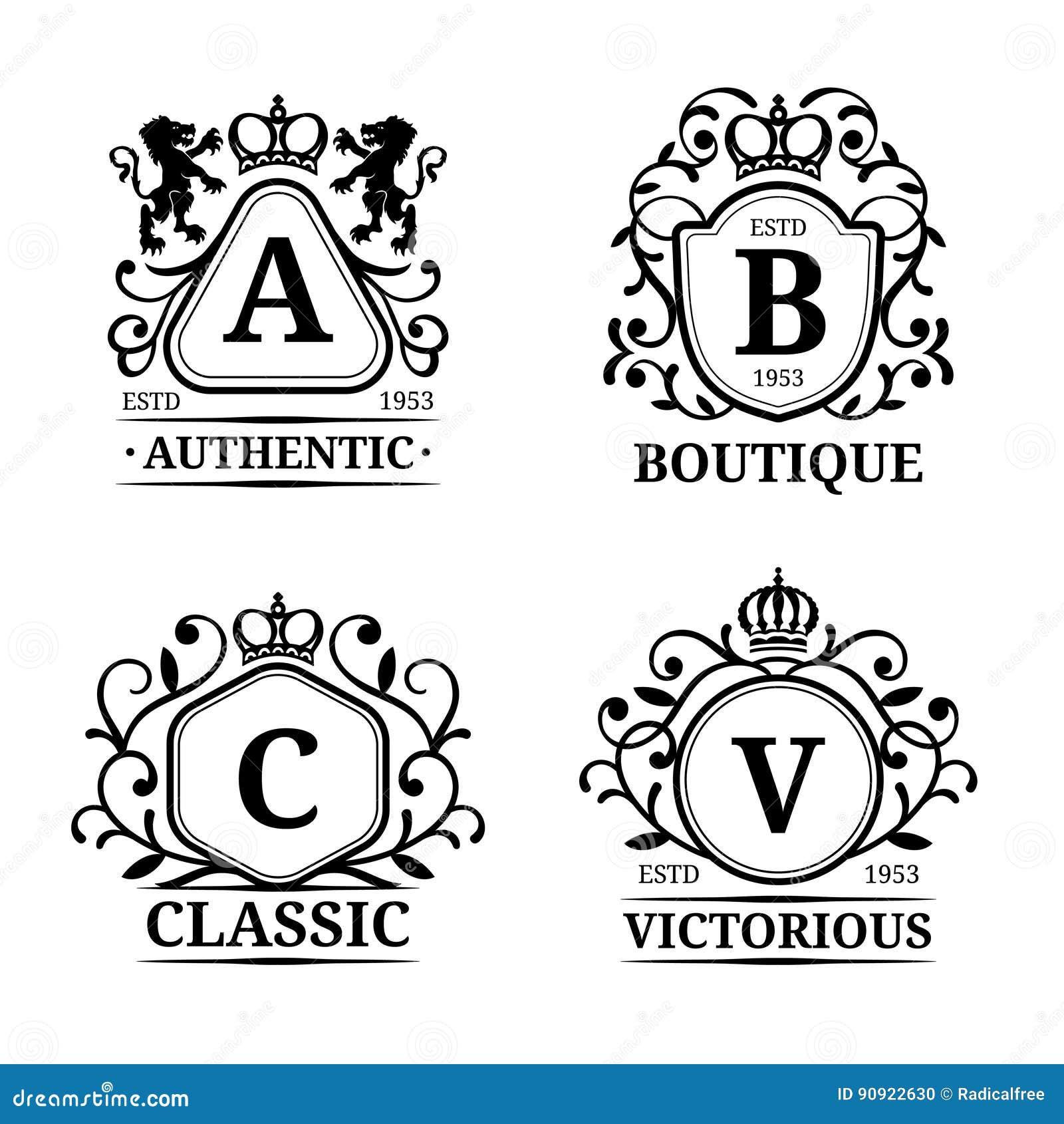 Vector monogram logo templates luxury letters design