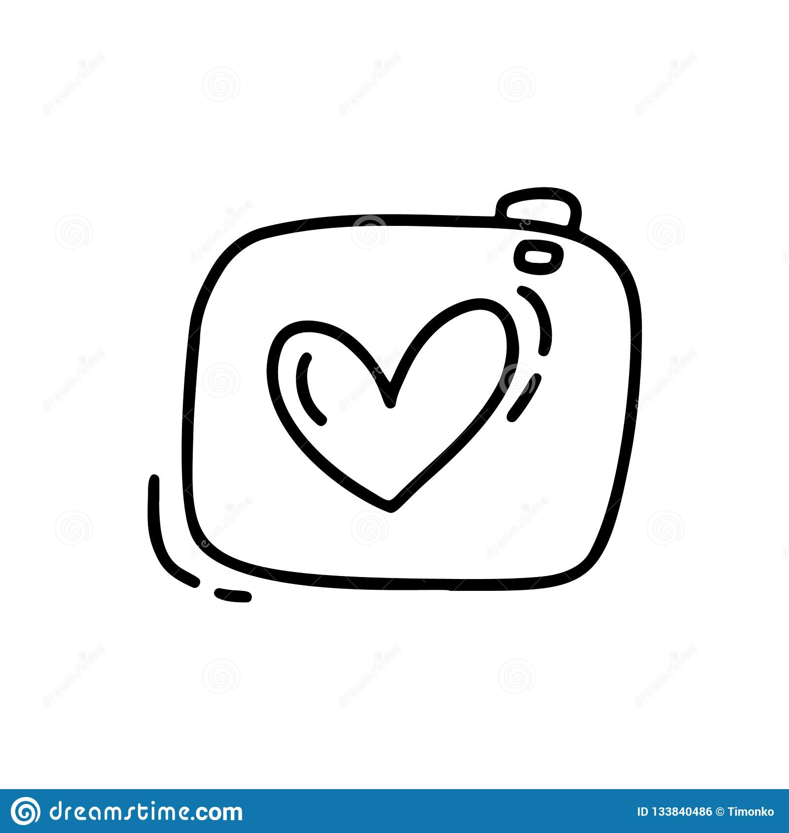 Vector monoline cute camera. Valentines Day Hand Drawn icon. Holiday sketch doodle Design element valentine with Heart