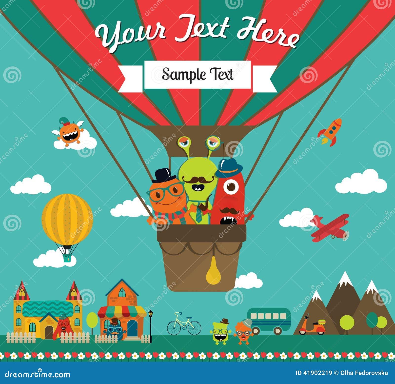 Vector Monster Greeting Card Design Stock Vector Illustration Of