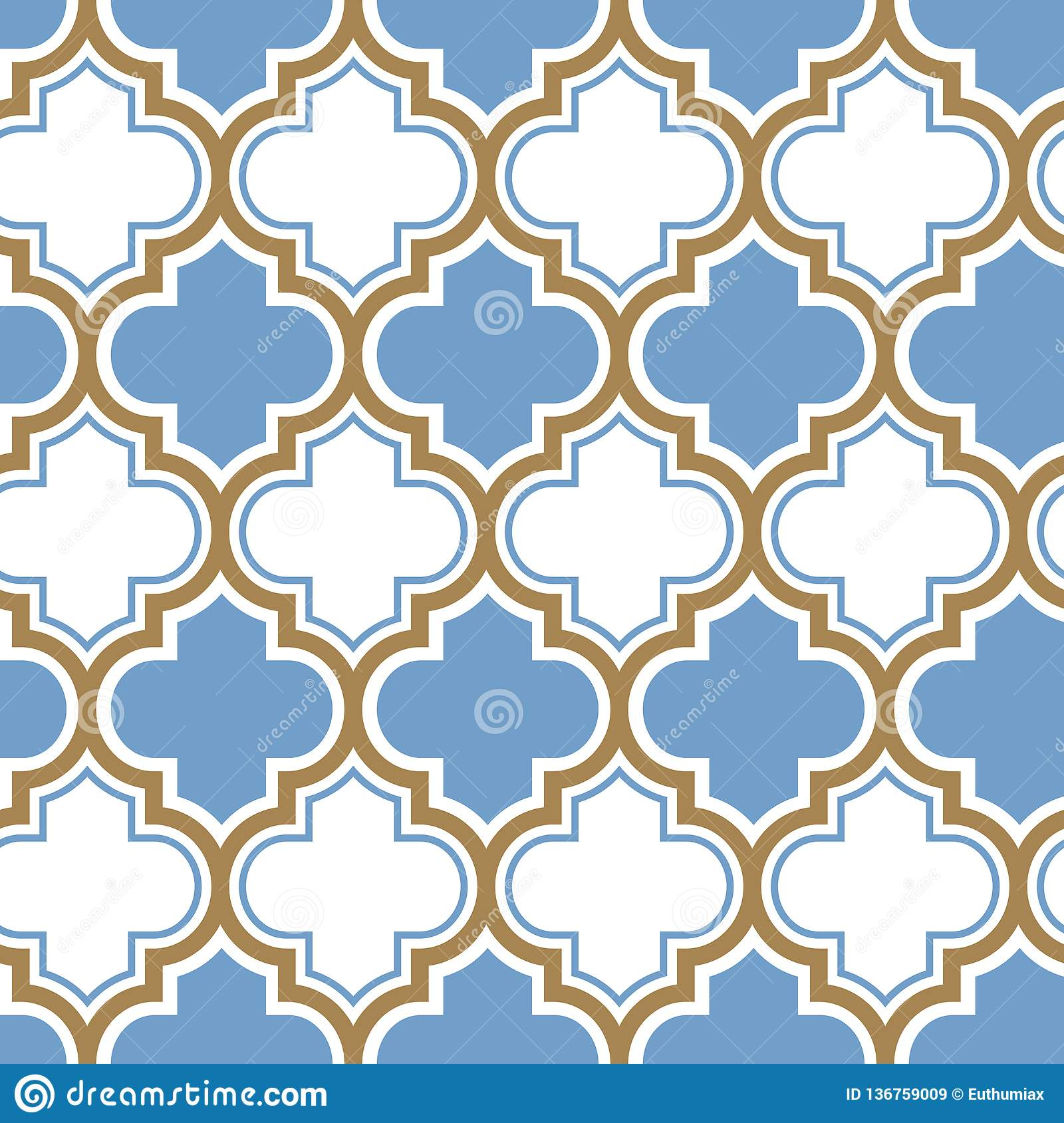 Vector moroccan repeat seamless pattern. Light blue, gold beige line on white background.